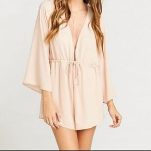Show Me Your MuMu Pale Pink Romper Long Sleeve